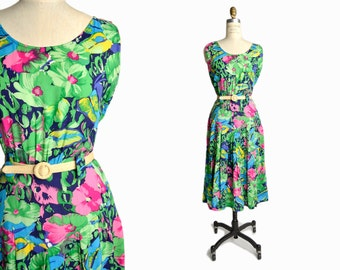 Vintage 80s Bright Floral Print Dress - women's medium