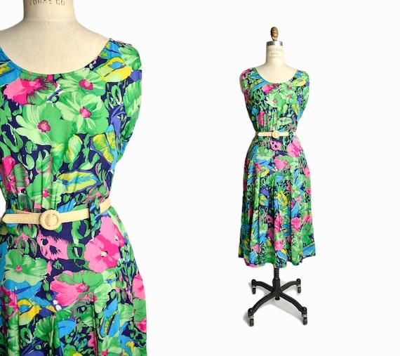 Vintage 80s Green Floral Print Dress / Garden Party Dress - women's medium