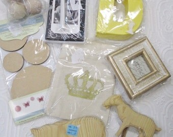 CRAFT SUPPLIES - Destash Mixed Lot- Wooden Animals, Mini Frame, Wood Crafts, Bags, Cards