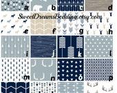 Crib Bedding Woodland Deer Crib Bedding. Navy,  arrow, antler, bear. Customize your set: crib sheet, changing cover, skirt, bumper, blanket