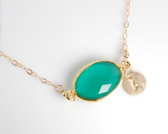 Green onyx bezel necklace, vemeil bezel, 14K gold filled chain, dainty everyday necklace, personalized necklace, gemstone, initials