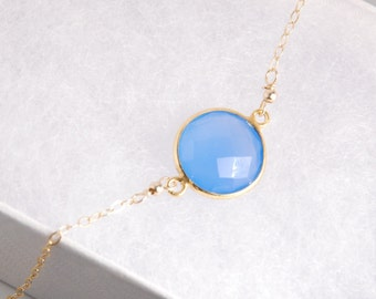 Blue chalcedony bezel necklace, vemeil bezel, 14K gold filled chain, dainty everyday necklace, personalized necklace, gemstone, initials