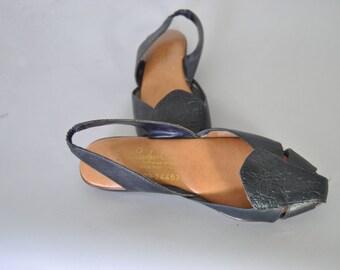 Vintage Brazilian Leather Sandals Flats Navy Deep Blue Leather Shoes sz5