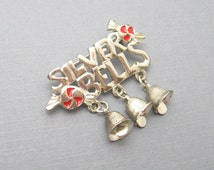 Vintage Christmas Brooch Silver Bells Bell Jewelry B6790