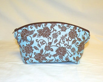 XL Domed Make Up Bag in Floral Print in Light Blue and Brown