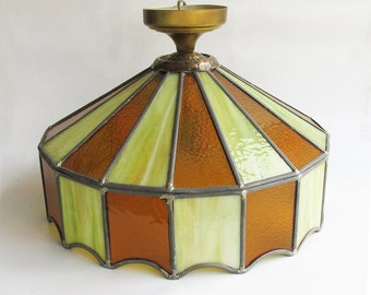 Mid Century Stained Glass Swag Lamp - Green & Gold