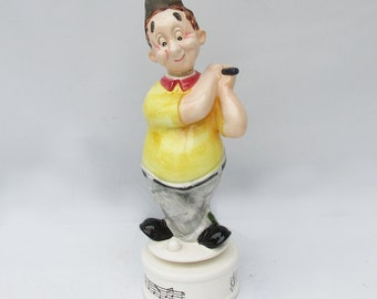 Kitschy Mid Century Ceramic Cartoon Golfer Bar Decanter & Music Box