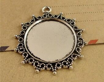 10 Pendant trays- Filigree Frame 25mm Round Bezel Setting Wholesale, Antique Bronzed Tone/ Antique Silver Tone, 58g - HA3572