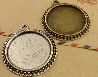 10 Pendant trays- Beaded Frame 30mm Round Bezel Setting with ring, Antique Silver/ Antique Bronze, 80g- HA1018