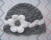 Baby Girl Crochet Hat, Newborn Crochet Hat, Infant Hat, Baby Girl Hat, Newborn Girl Hat, Gray, Gift