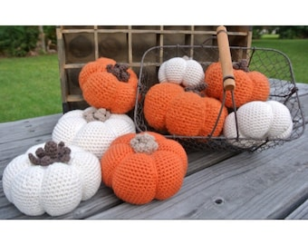 Large White Crochet Pumpkin Fall Decoration
