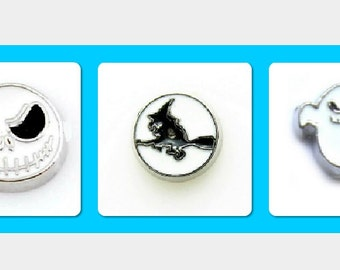 Halloween Floating Charms, Memory charms, Floating Locket, Living Locket, Ghost charm, Witch Charm, Jack charm