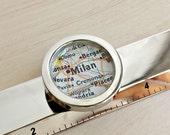 Custom Made Map Ruler Paperweight Employee Boss Gift Desk Accessory World Traveler