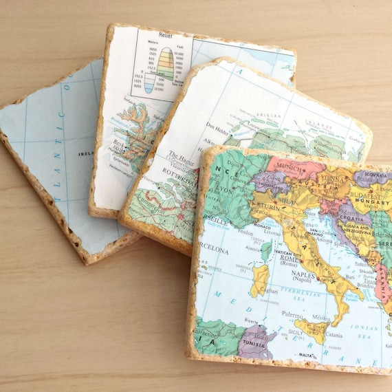 Travertine Tile / Custom Map / Drink Coasters / Wedding Gift for the Couple / Custom Travel Map / Vintage Map / Barware / Man Cave / For Dad