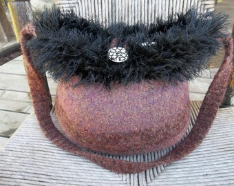 13-1180 handknit felted wool purse tote handbag f.s.