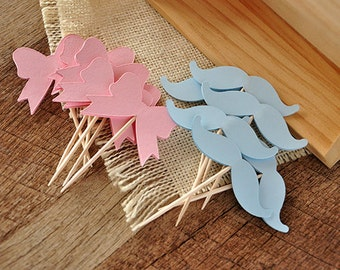 Gender Reveal Party Decor.  Handcrafted in 2-3 Business Days.  Mustache or Bow Cupcake Toppers 12CT.