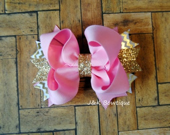 Pink and Gold Boutique Bow