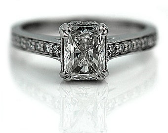Radiant Cut Diamond Engagement Ring 1.62ctw GIA Diamond Engagement Ring 14K White Gold Antique Style Diamond Micro Pave Ring Size 6!