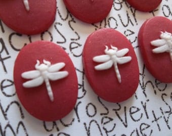 White Dragonfly on Red Cameo - 18 X 13mm Cabochons - Qty 6