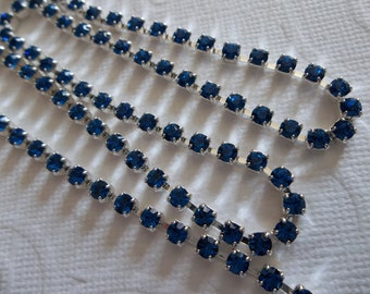 3mm Capri Blue Rhinestone Chain - Silver Plated Setting - Preciosa Czech Crystals