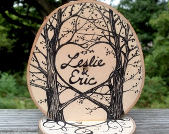 Natural Rustic Tree Slice Wedding Cake Topper, Hand Drawn in Ink, wood grain, roots, personalized