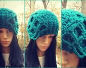 Instant Download Pattern - Crochet Hat Pattern - Crochet Beanie with attached  flower  #Crochet in crochet- Crochet Winter Hat Pattern