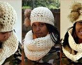 Crochet Hat and Scarf Pattern Collection - Chunky Hat and Scarf Pattern - Infinity Scarf -  Crochet Set