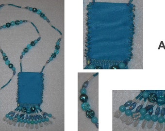 Beaded Tapestry Ribbon Amulet Medicine Treasure Bag Pouch Necklace Seed Bead Jewelry Beads Fringe
