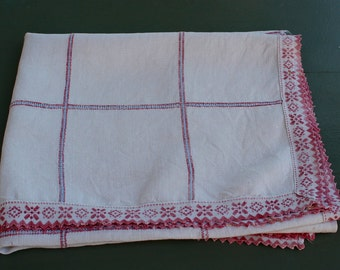 Antique French Linen . Woven Blue Red Check . Curtain Fabric. Table Runner