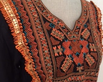 Vintage Embroidered Ribbon & Sequin Embellished Black Tunic with Orange and Gold Accents