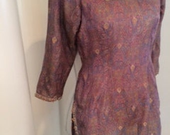 Vintage Paisley Silk Brocade Embellished Tunic Blouse - Rose Pink / Lavender Purple with Gold Accents & Beaded Trim