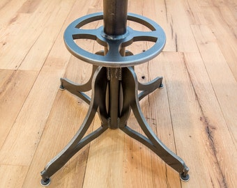 Bistro Table / Table Base / Cafe Table / Reclaimed Wood & Steel Table / Industrial Table