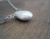 Sterling Silver Drop Necklace - Labradorite Gemstone Necklace Collier Argent .925 Pierres Semi-Precieuses