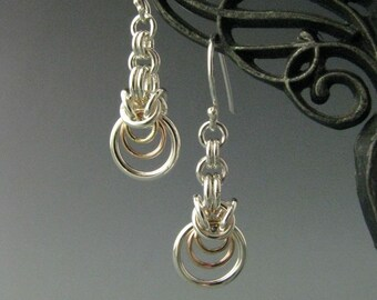 Sterling Silver, Yellow and Rose Gold Filled  Byzantine Ripple Chainmaille Earrings