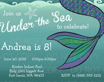Printable DIY Mermaid Under the Sea Birthday Party Invitation