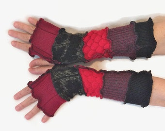 Upcycled Fingerless Gloves Black Red Armwarmers Recycled Wrist warmers Stripe Gloves Knit Gloves Fingerless Mittens Fashion  Size  Small S