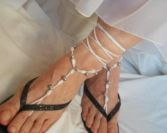 CROCHET BAREFOOT SANDALS / Summer Sandles Shoes Beads Gift Victorian Anklet Foot Women Accessories Cotton Elegant Feminine Chic Beach Wear
