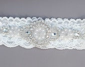 Wedding Garter - Rhinestone Appliqué Garter / Lace Garter/ something blue garter/ toss garter