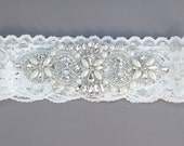 Wedding Garter / Rhinestone garter/ applique garter with rhinestones and pearls SINGLE