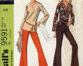 Vintage Misses' Blouse With Raglan Bell sleeves and Bell Bottom Pants Sewing Pattern - McCall's 9591 - Size 12 - Bust 34