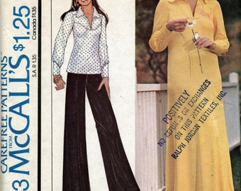 Vintage Long Dress or Top Sewing Pattern - McCall's 4393 - Size 12 - Bust 34 - UNCUT