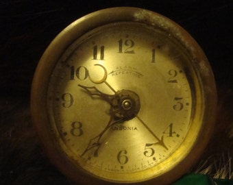 ANTIQUE AUTOMOBILE CLOCK Made By Ansonia Clock Co.N.Y.Repeating Alarm W/Bracket