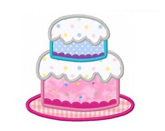 Birthday tiered cake applique machine embroidery design