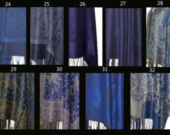 Silk & Cashmere Gypsy Caftan Mini Midi Maxi Dress or Shirt Ethnic Indian Fringe Hippe Boho Chic OSFA Navy Blue Print Options