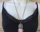 Native American Inspired Ice Cream Opal and Utah Variscite Mixed Metal Pendant