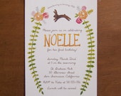 Bunny rabbit digital watercolor floral birthday party invitations rose flowers whimsical