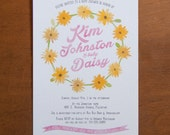 Daisy crown wreath whimsical digital baby shower invitations watercolor floral yellow pink daisies