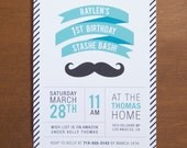 Mustache digital children's birthday party invitations kids teal aqua blue black white state