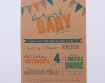 Bunting on natural kraft digital backyard couple's baby shower BBQ invitations neutral