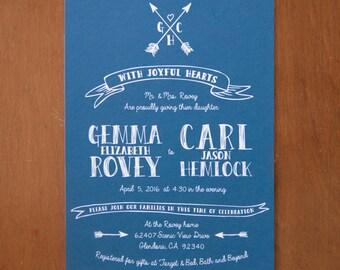 Rustic & whimsical arrows digital wedding invitations sketch natural kraft navy